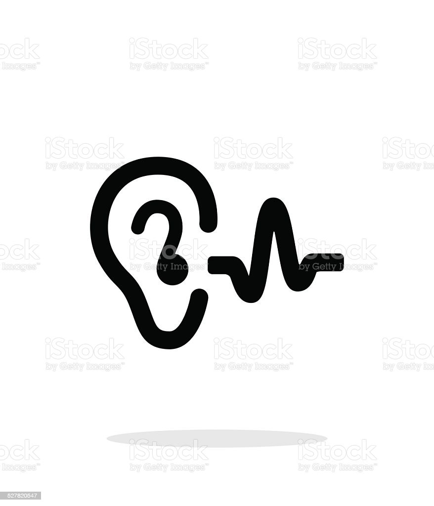 Ear hearing sound icon on white background. vector art illustration
