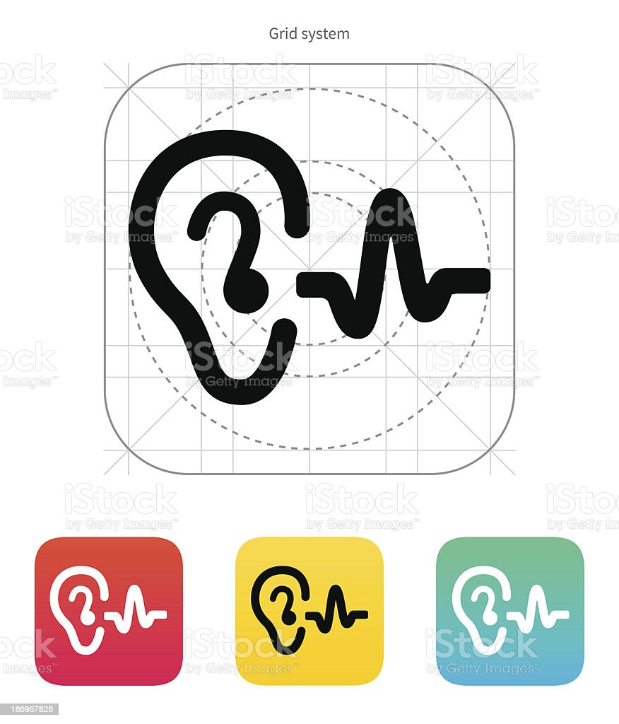 Ear hearing sound icon. vector art illustration