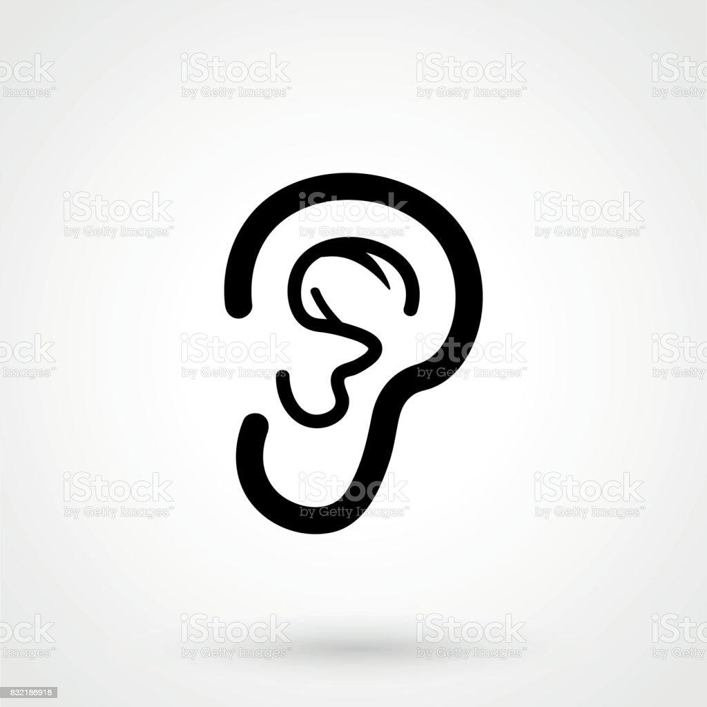 Ear icon on white background. Vector illustration. vector art illustration