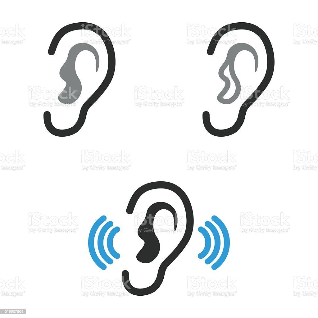 Ear   icons set. vector art illustration