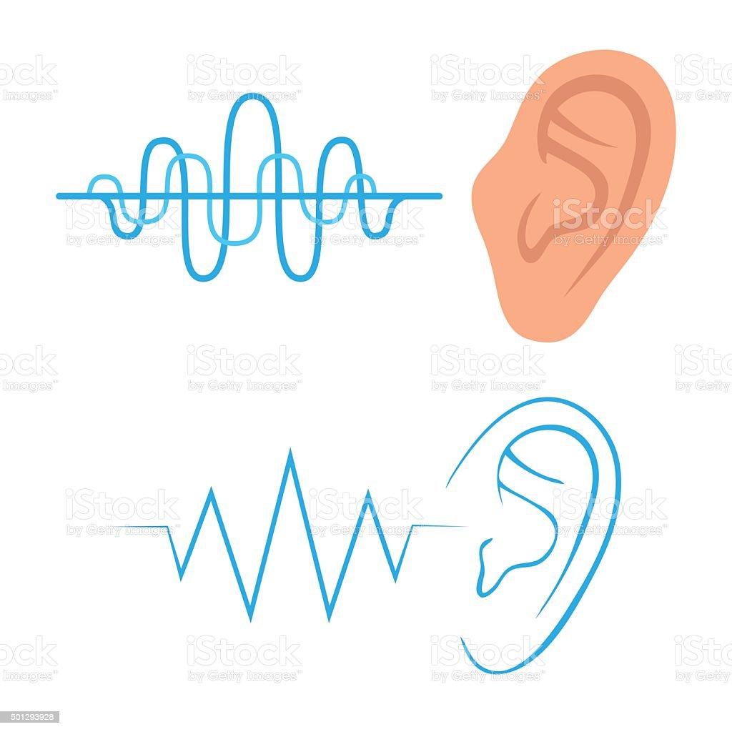ear listen sound vector art illustration