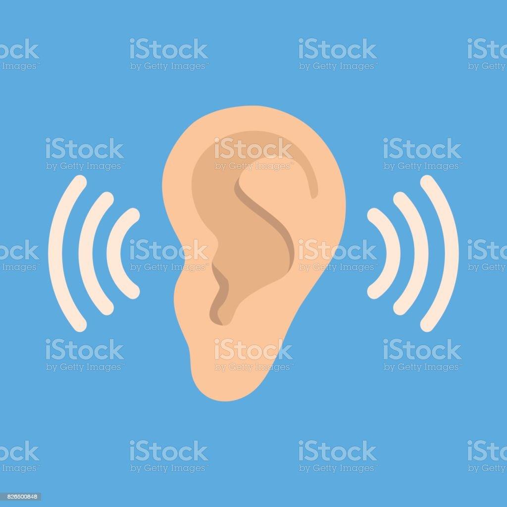 Ear listen vector icon on blue background. Ear vector icon. Listening vector icon. vector art illustration