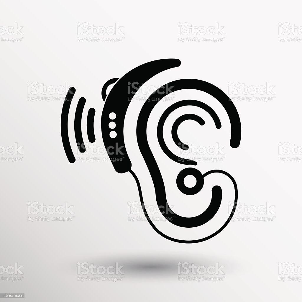 Ear vector icon hearing aid ear listen sound graphics vector art illustration