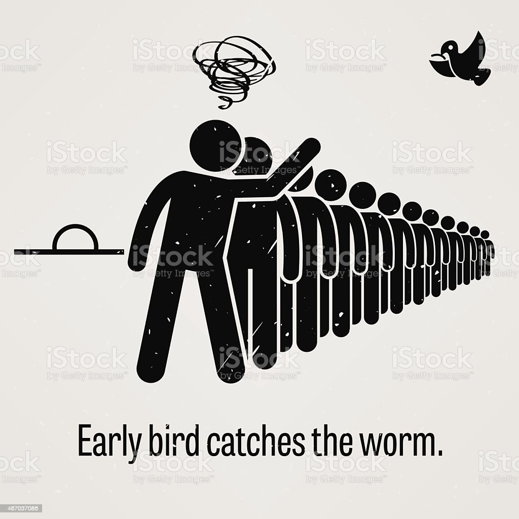 Early Bird Catches the Worm vector art illustration