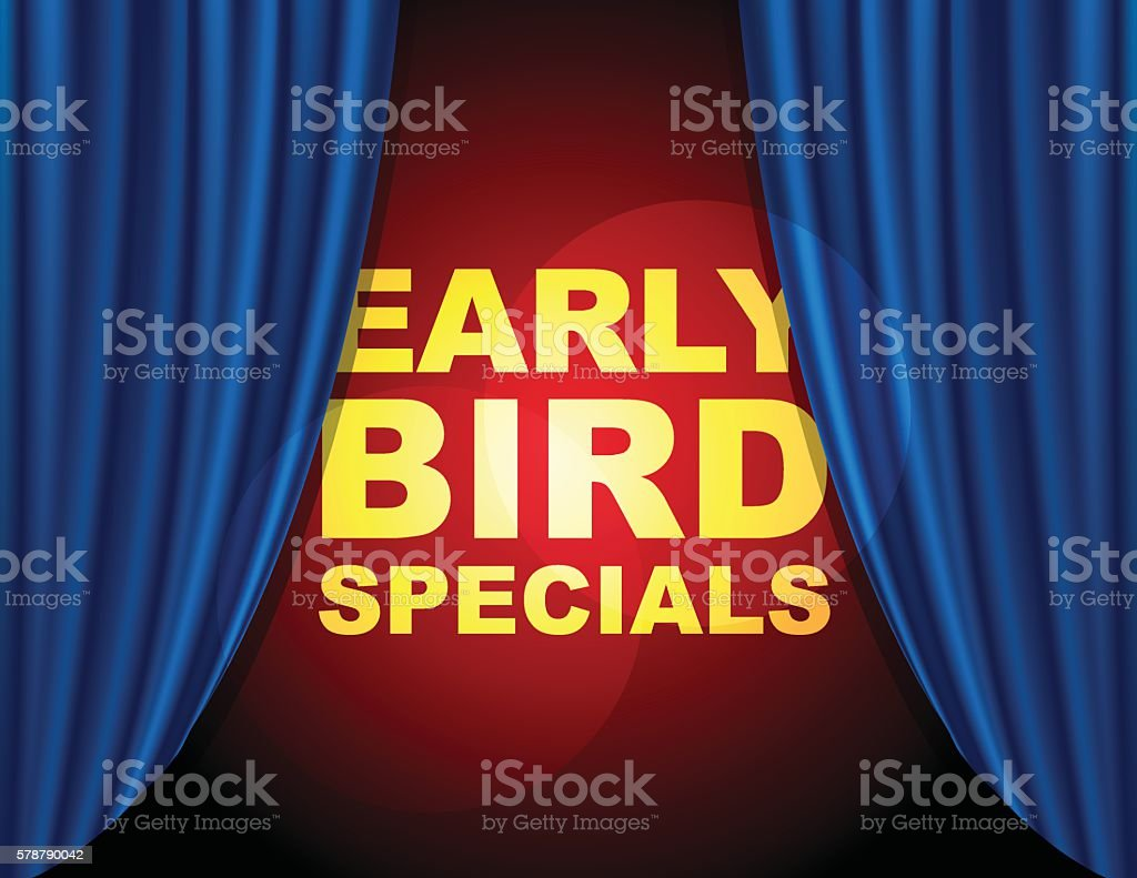 Early bird special info with blue curtain vector art illustration