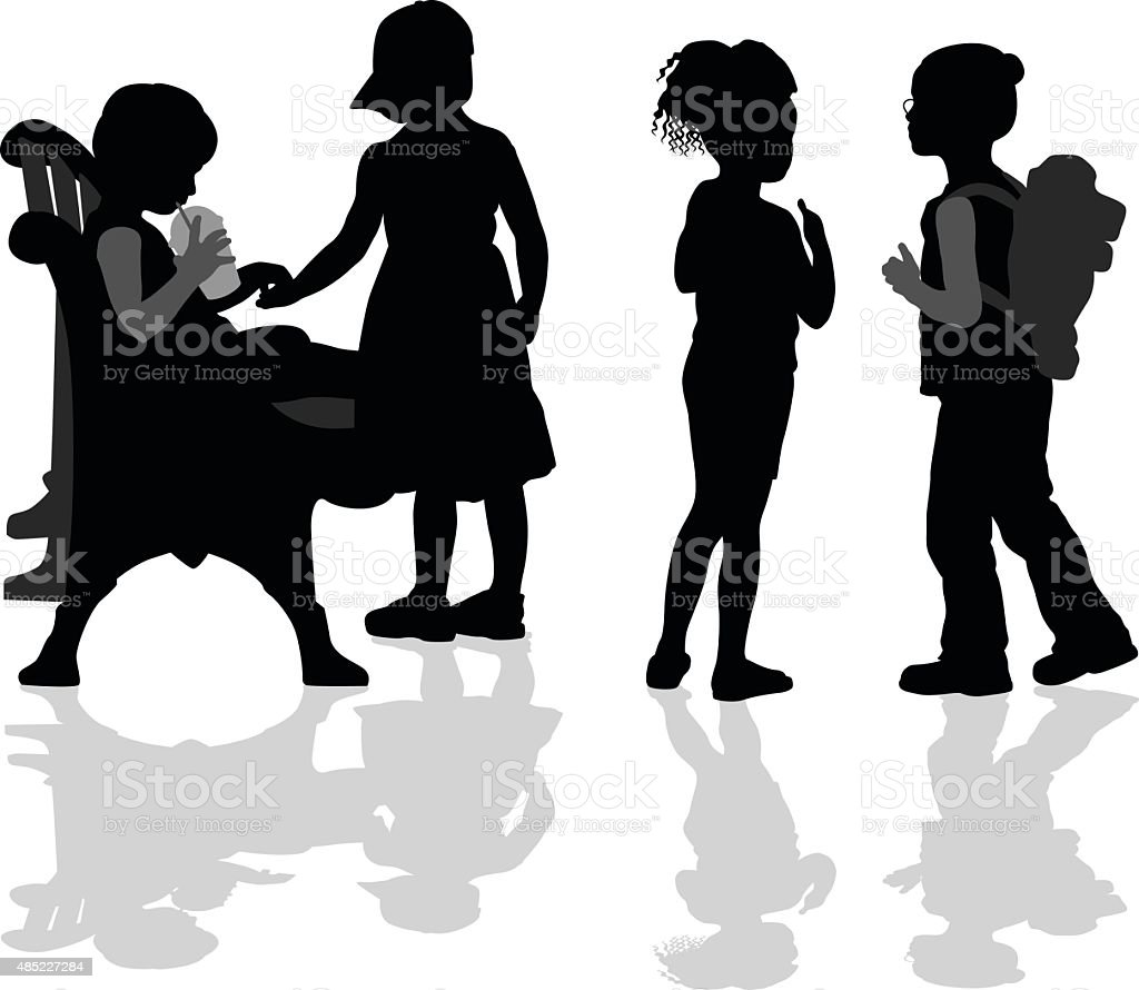 Early Childhood Friends vector art illustration