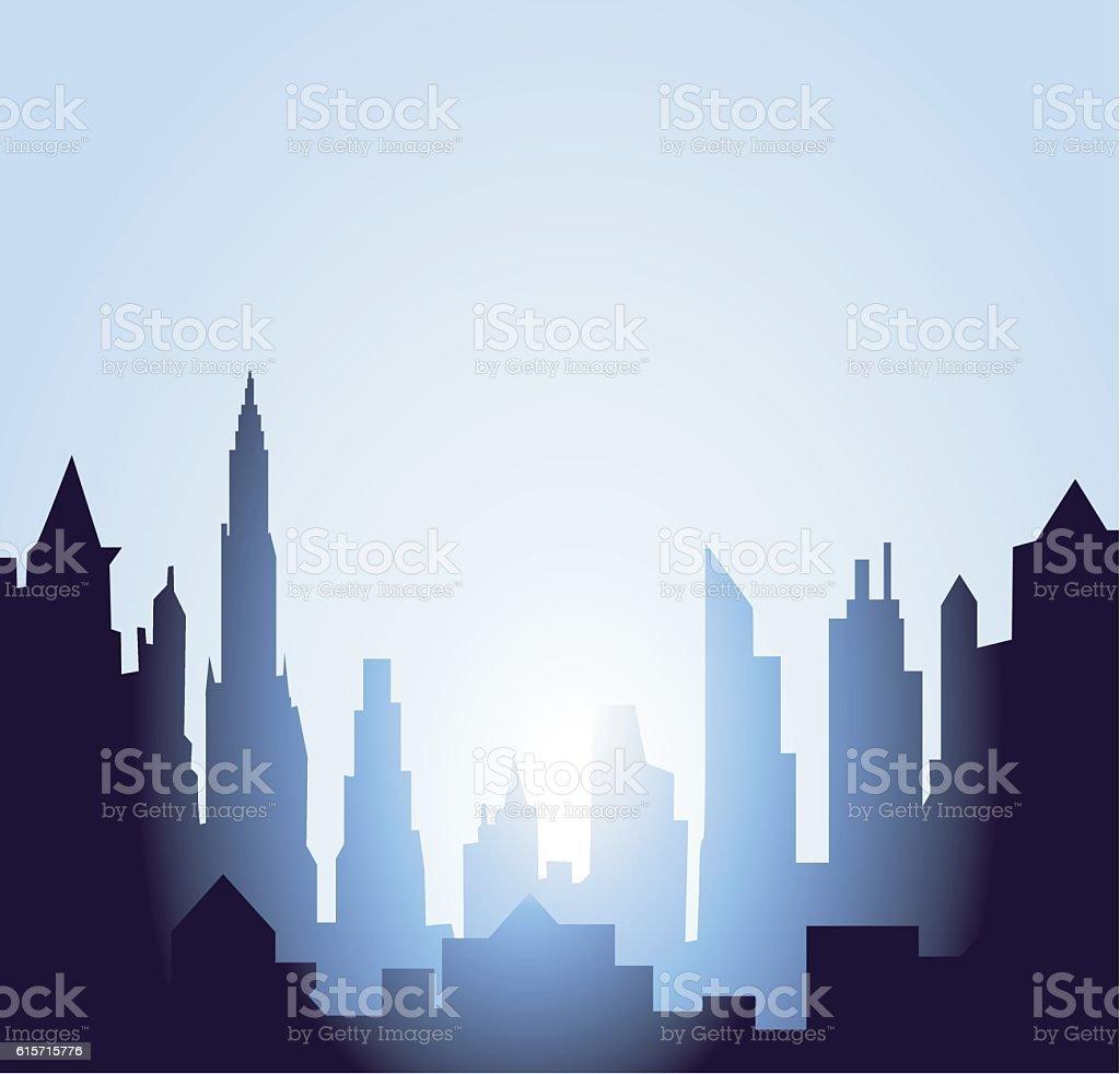 Early Morning Sunrise vector art illustration
