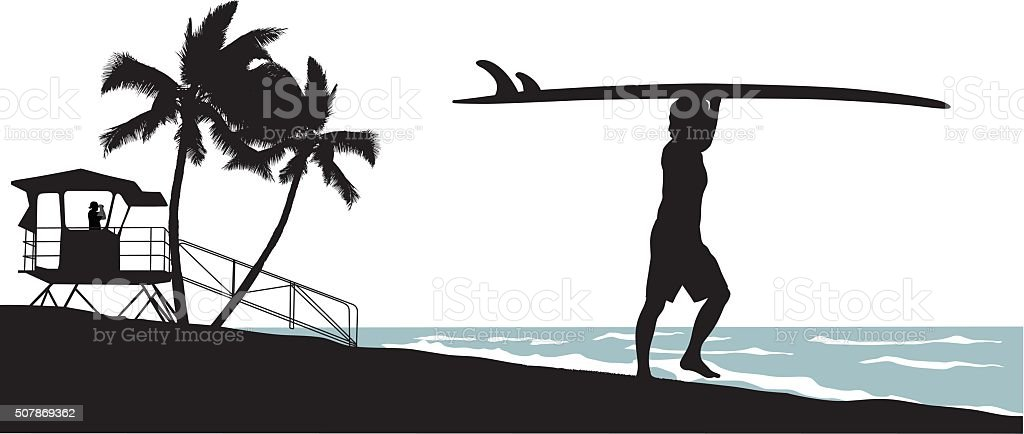 Early Morning Surfing vector art illustration
