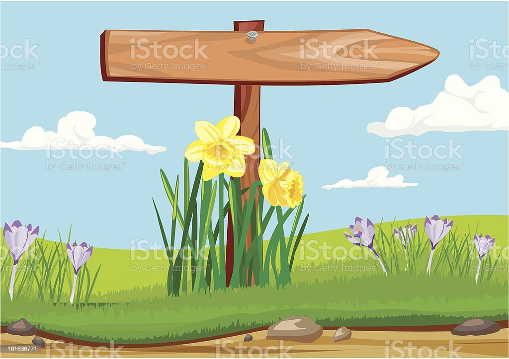early morning - wooden signpost royalty-free stock vector art