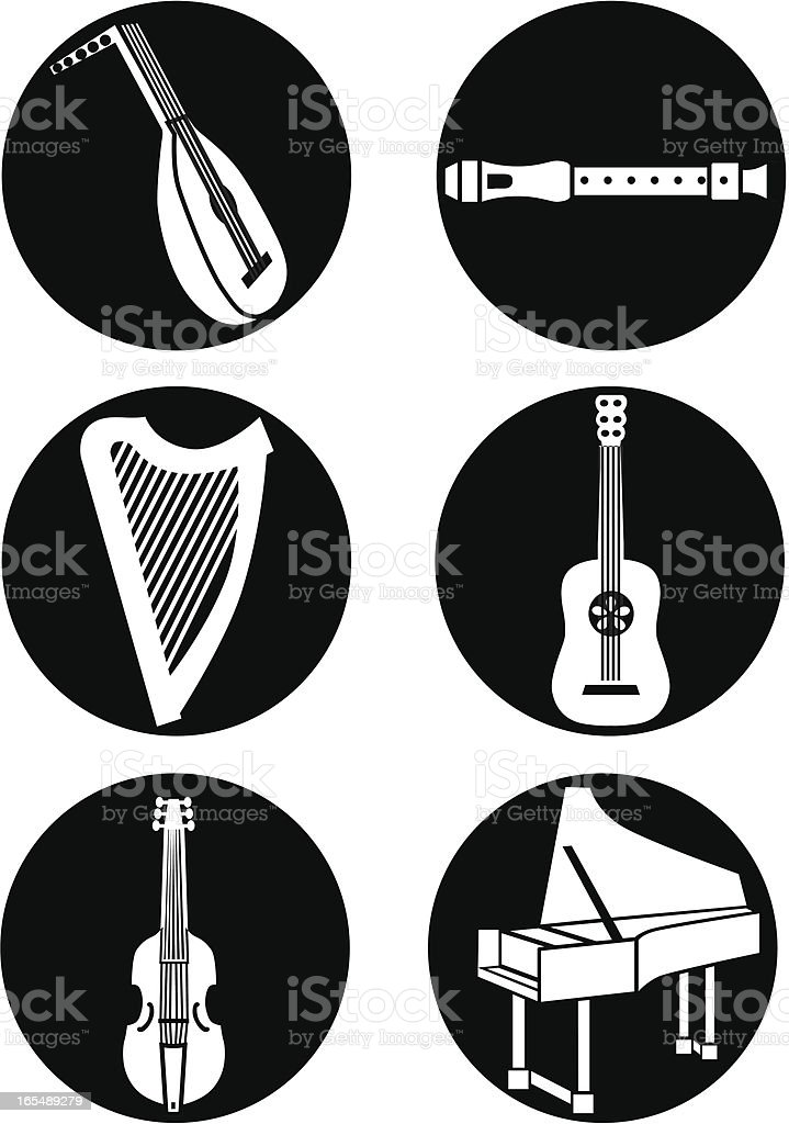 early music instruments reversed royalty-free stock vector art