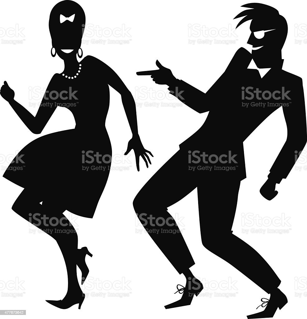 Early rock and roll dancing vector art illustration