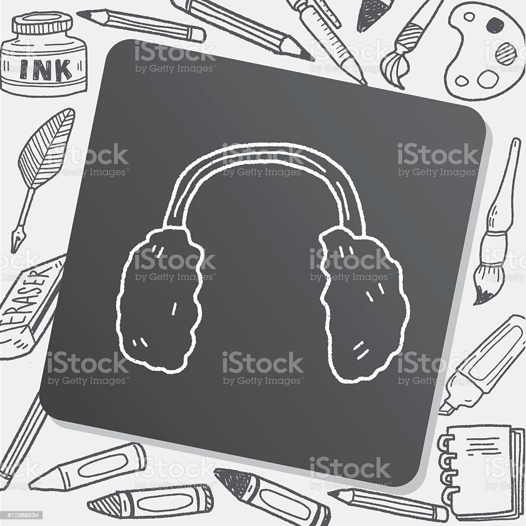 earmuffs doodle vector art illustration