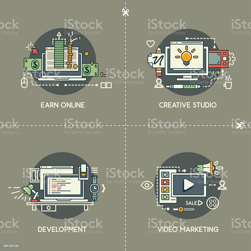 Earn online, creative studio, development, video marketing vector art illustration