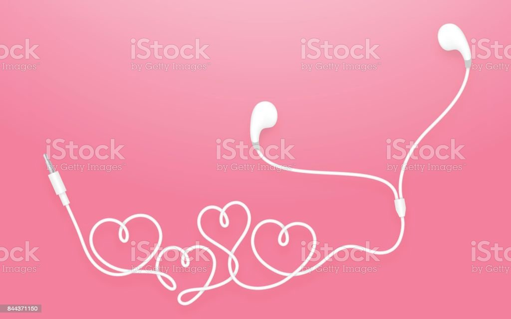 Earphones Earbud Type White Color And Heart Symbol Made From Cable