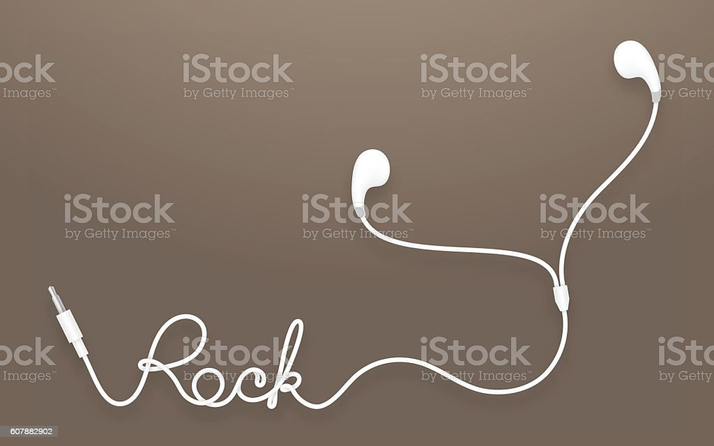 Earphones, Earbud type white color and rock text vector art illustration