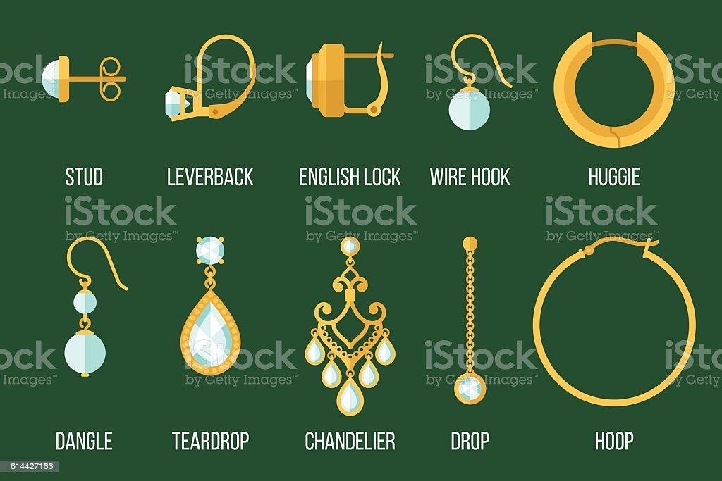 Earring types vector art illustration