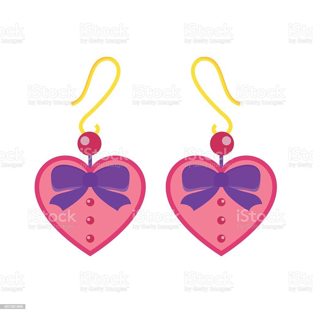 Earrings beautiful accessory isolated vector. vector art illustration