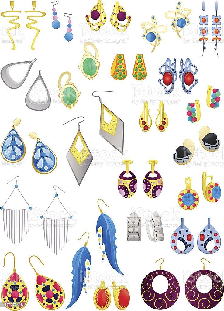 Earrings vector art illustration