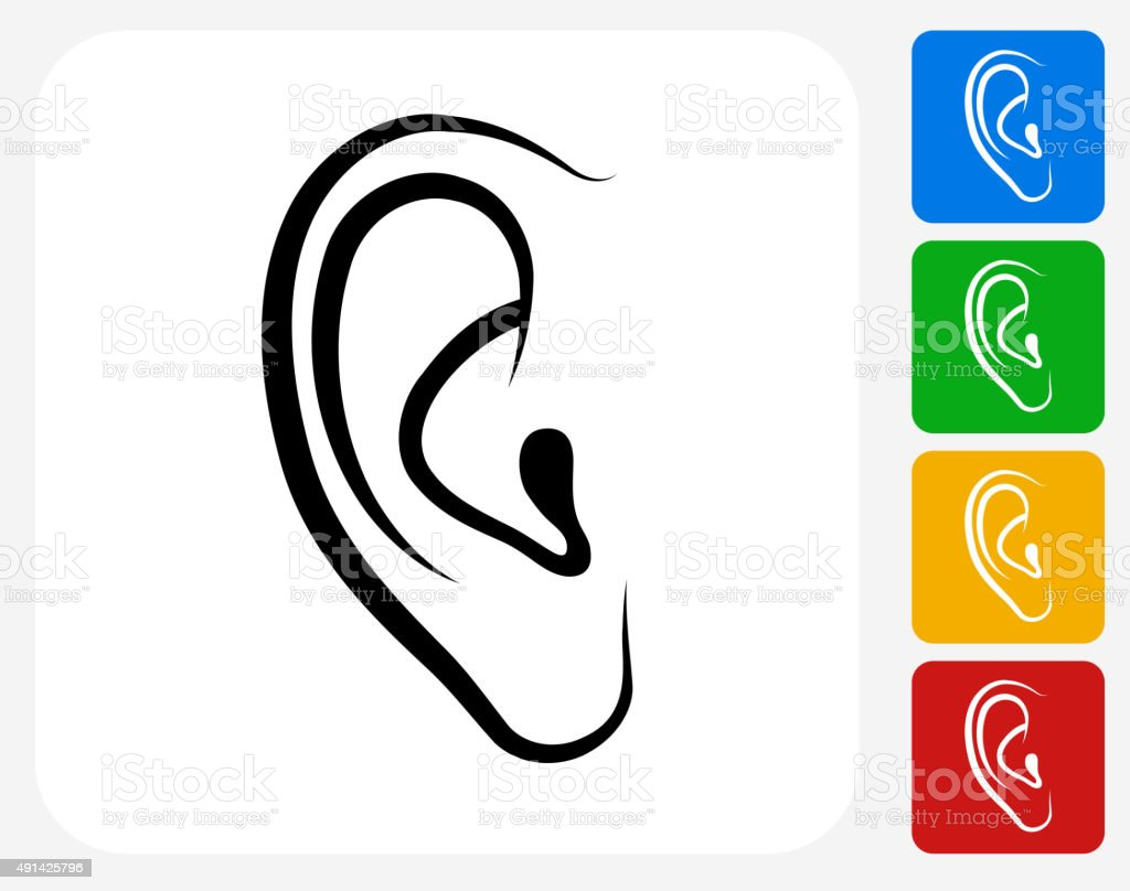 Ears Icon Flat Graphic Design vector art illustration