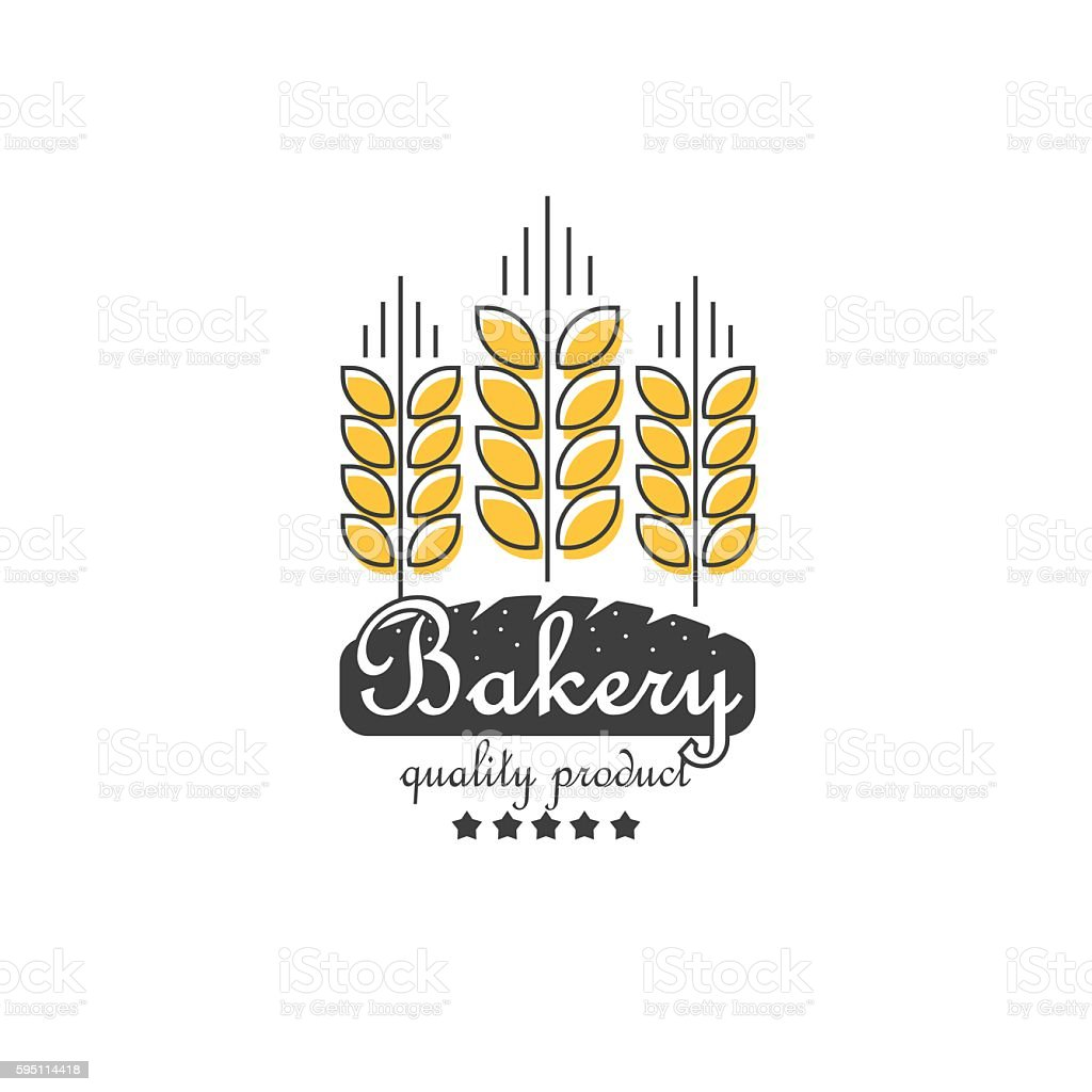 Ears of cereals bakery vector logo, concept for organic products vector art illustration