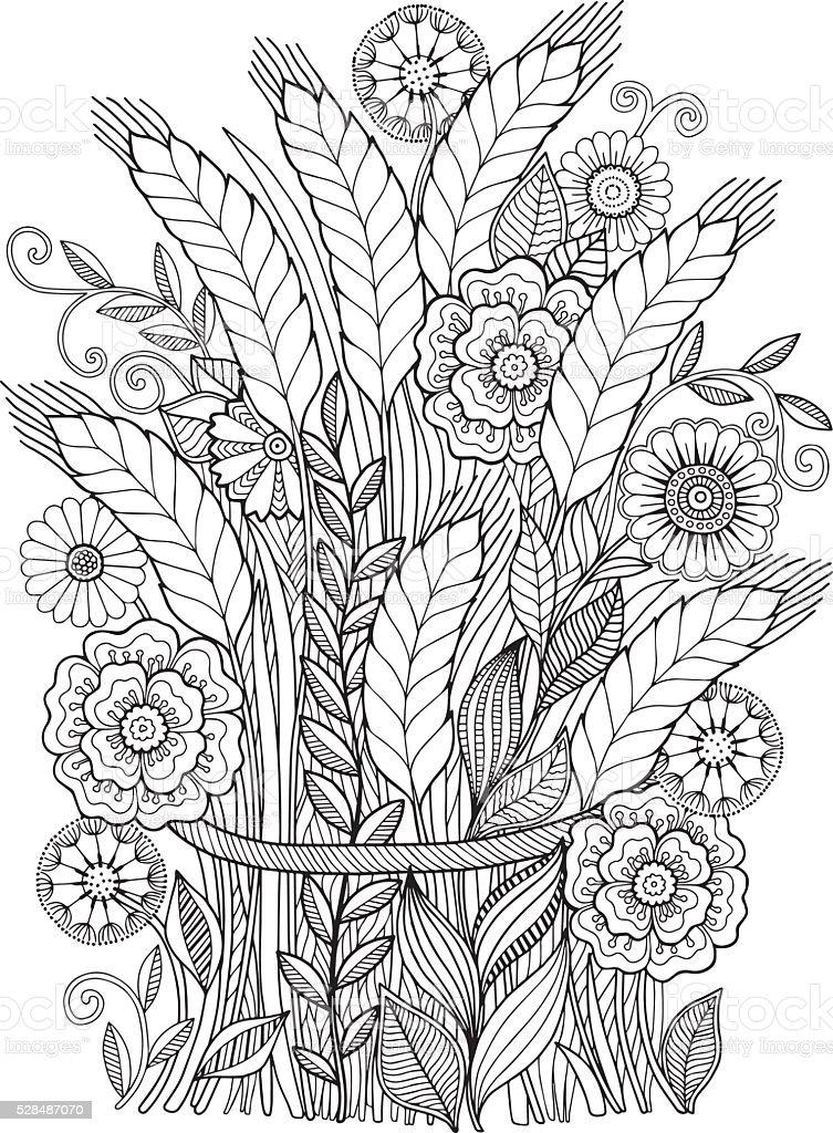 Ears sheaf of flowers vector art illustration
