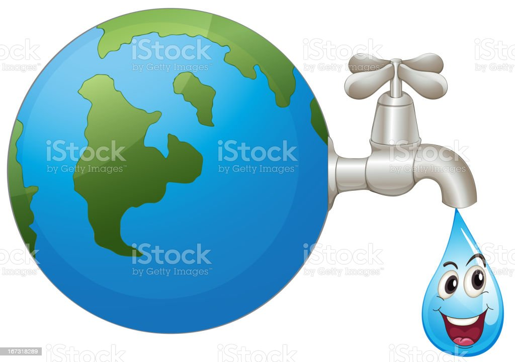 Earth and a water drop royalty-free stock vector art