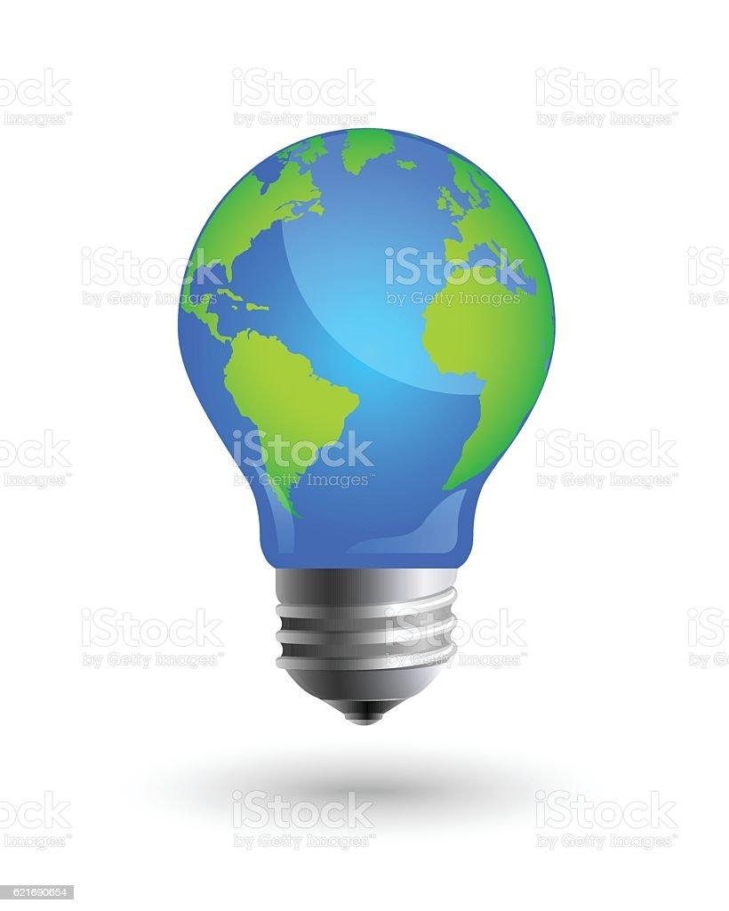 Earth and lightbulb design vector art illustration