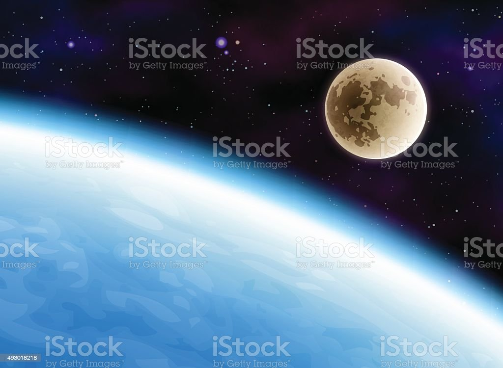 Earth and Moon vector art illustration
