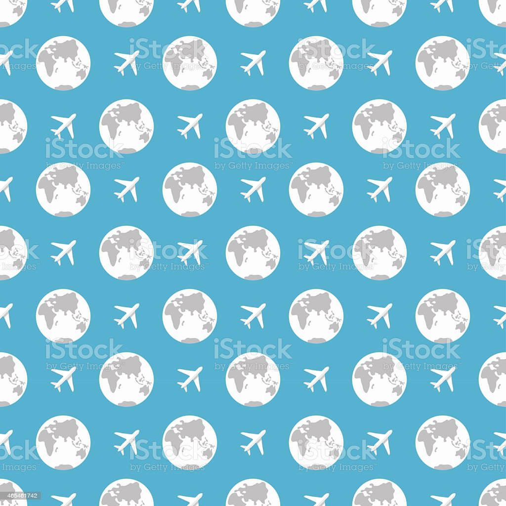 earth and plane pattern vector art illustration