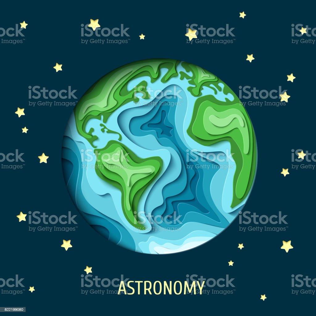earth astronomy text vector art illustration