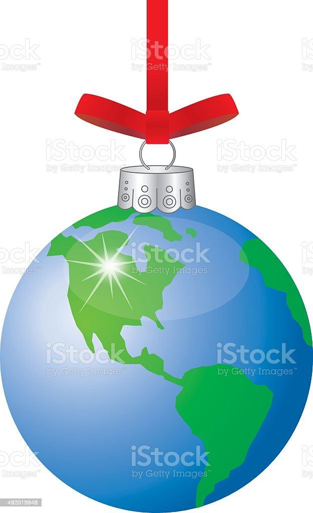 Earth Christmas Ornaments vector art illustration