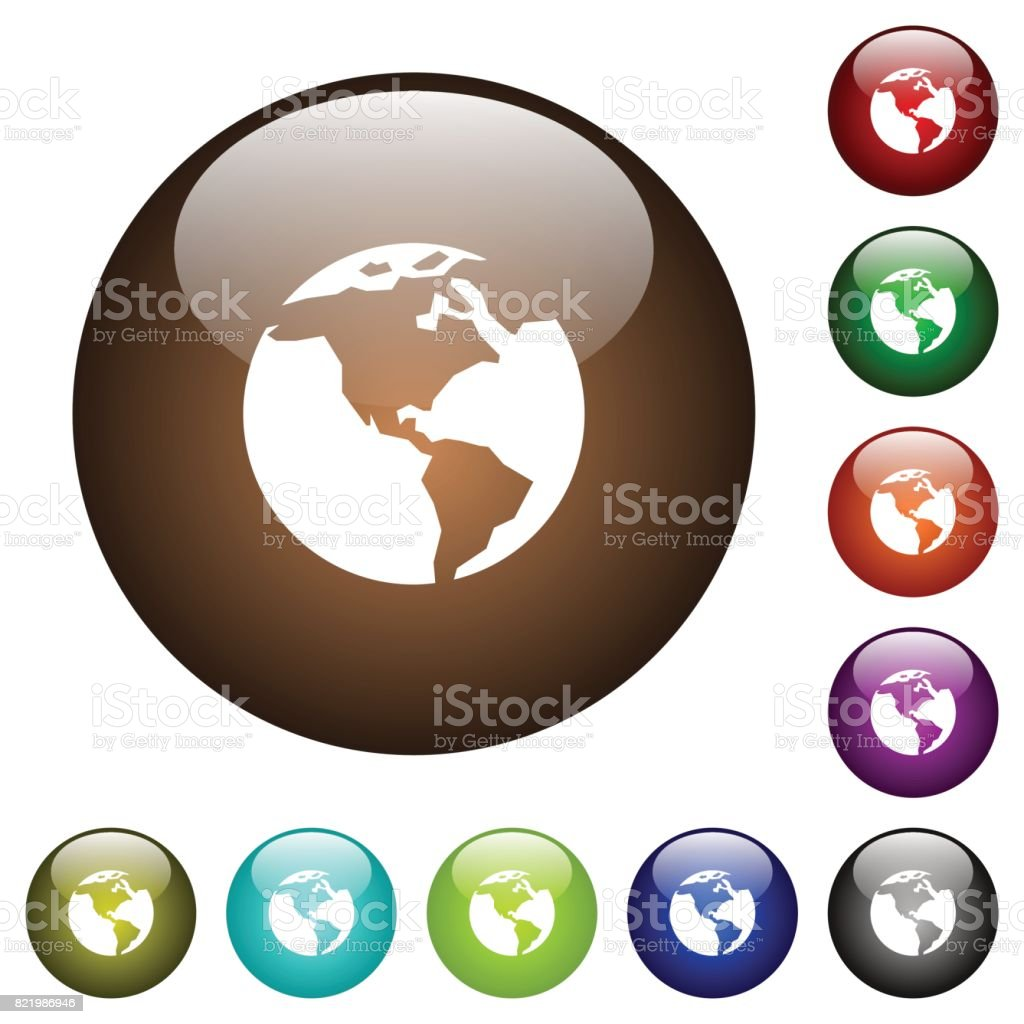 Earth color glass buttons vector art illustration