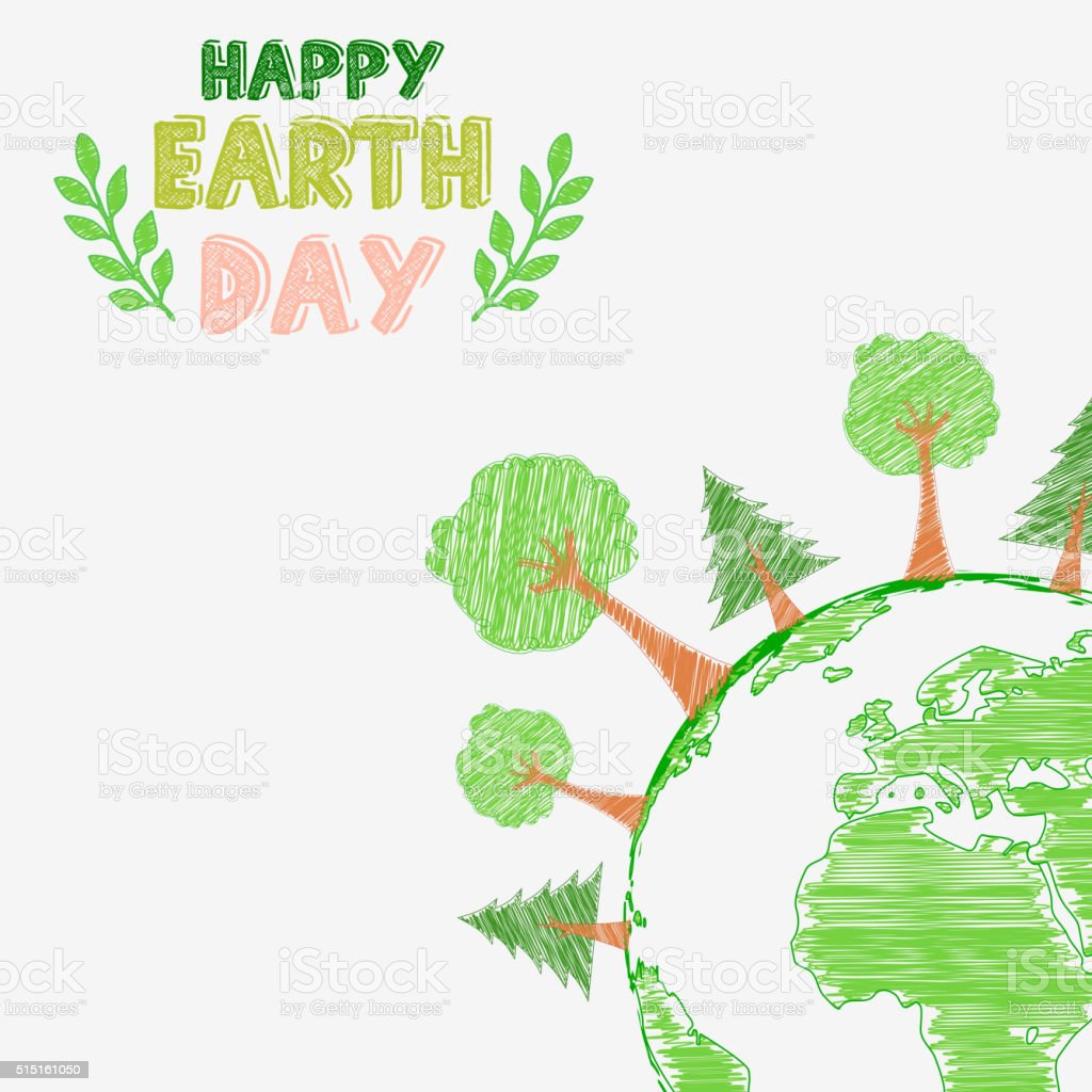 Earth day and the environment with shape paintings vector art illustration