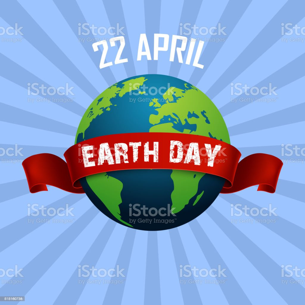 Earth Day background and Red Ribbon vector art illustration