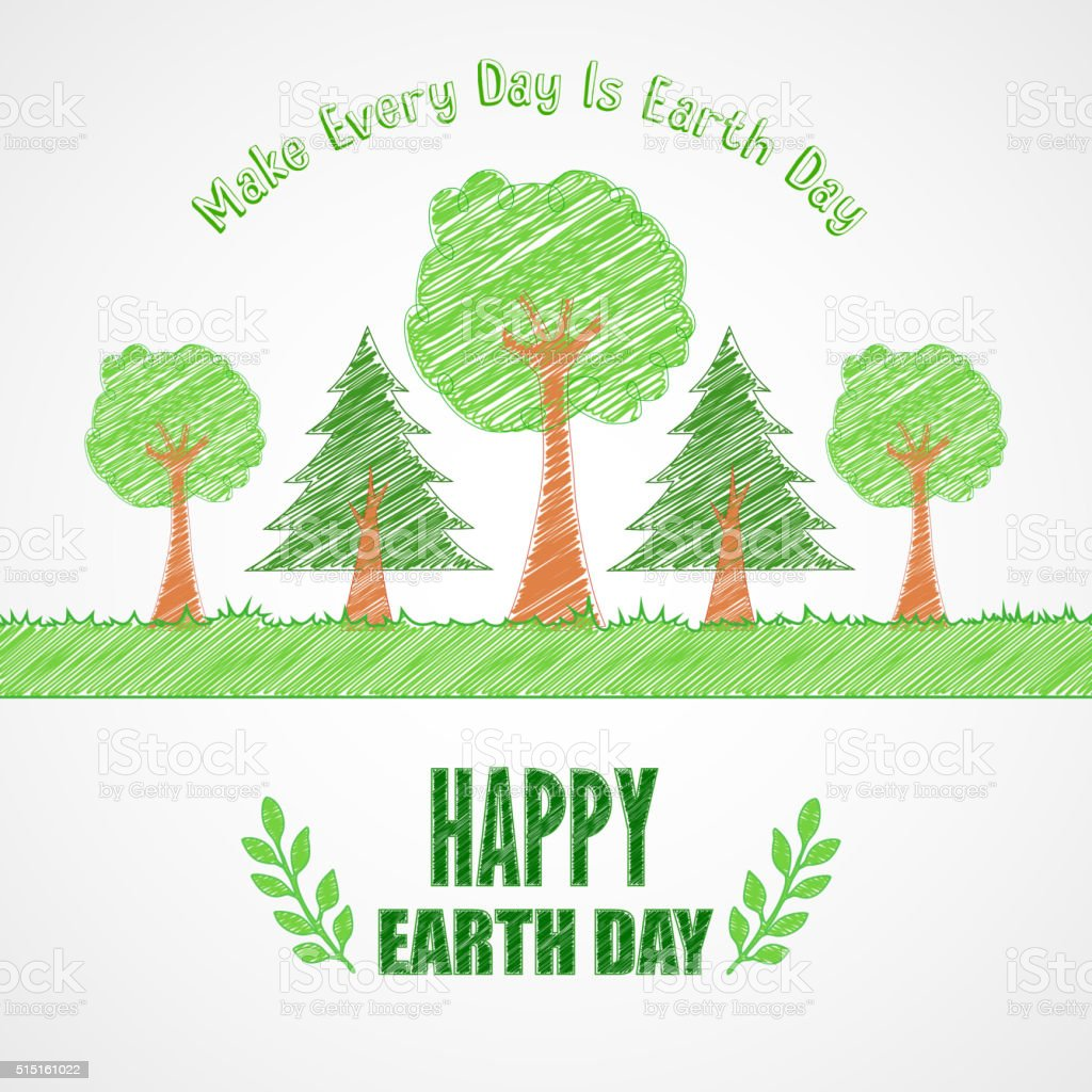 Earth Day background concept Tree design vector art illustration