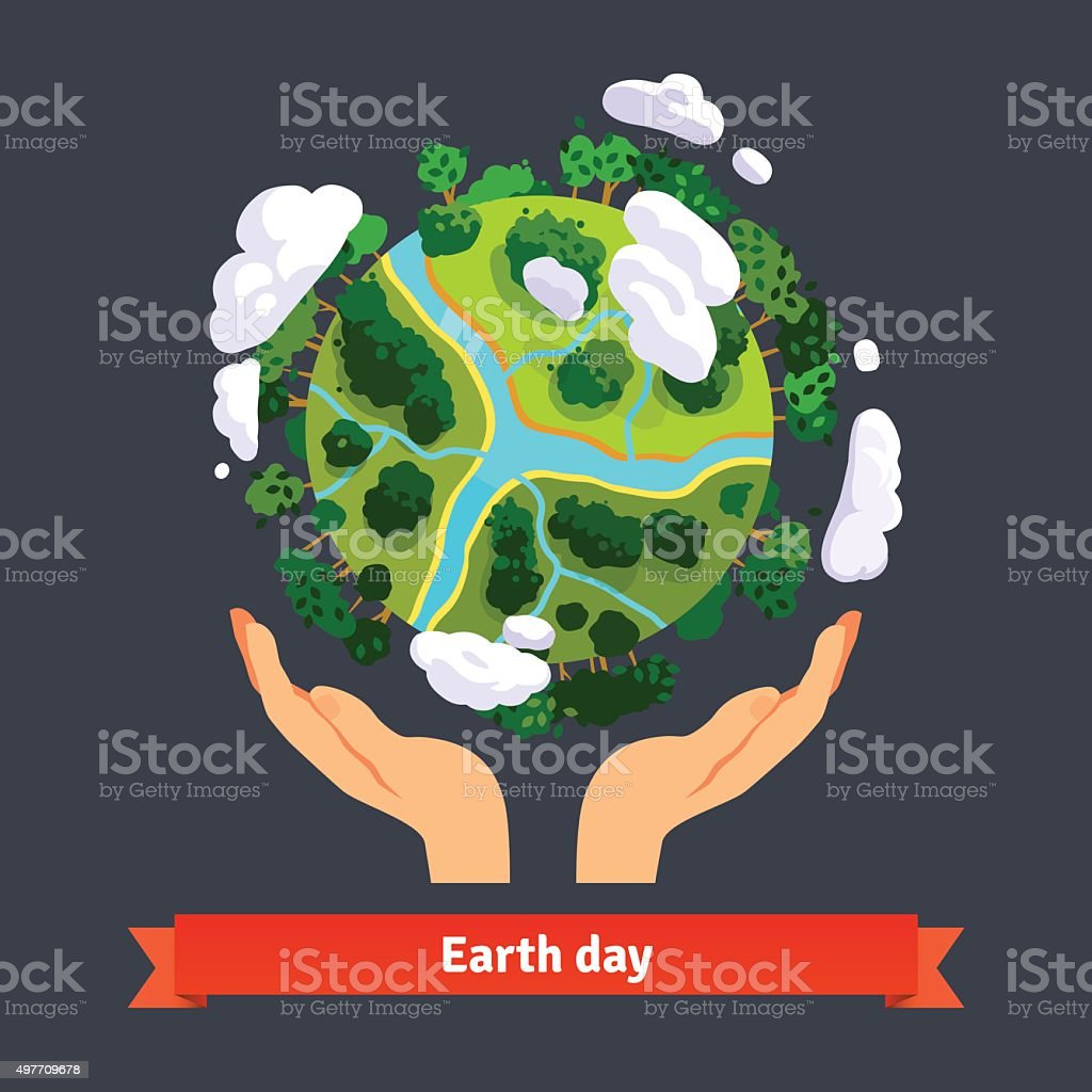 Earth day concept. Human hands holding globe vector art illustration