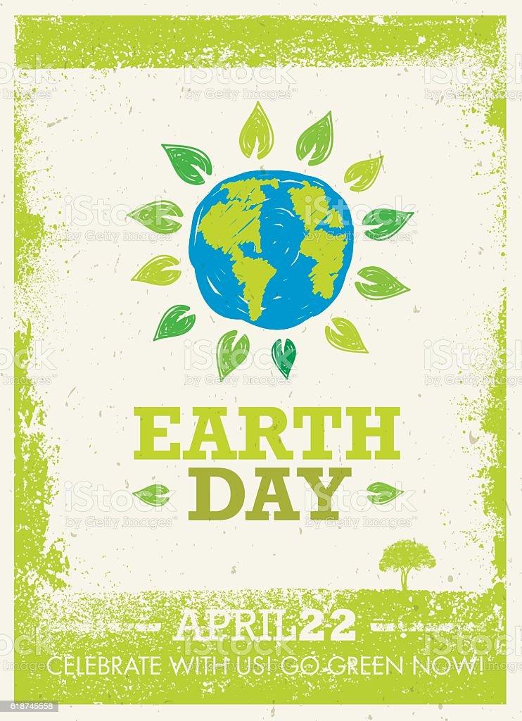 Earth Day Creative Rough Banner Concept vector art illustration