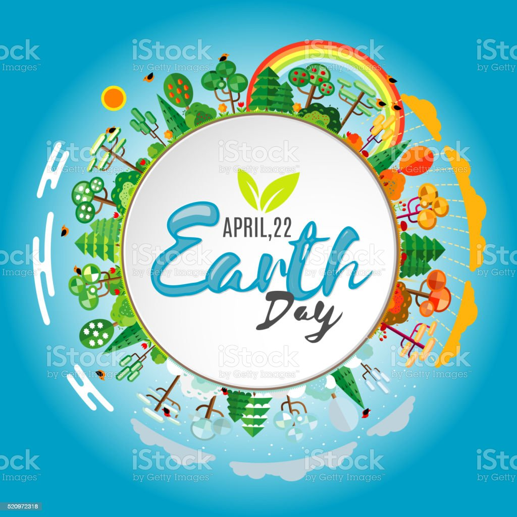 Earth Day. Eco friendly ecology concept. Vector illustration vector art illustration