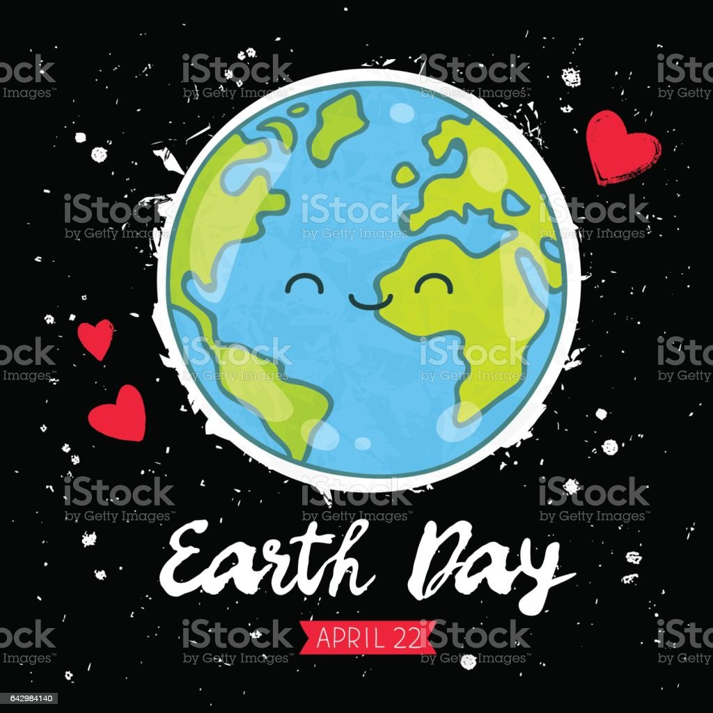 Earth Day. Gift card vector art illustration