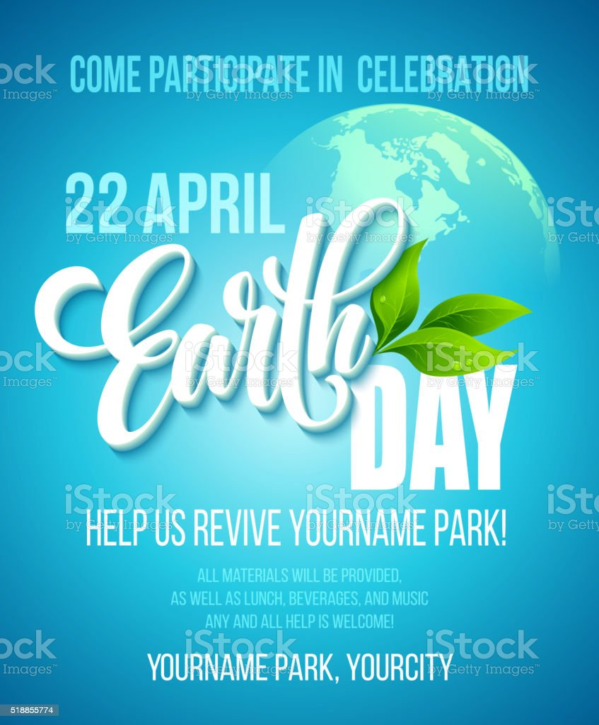 Earth Day poster. Vector illustration with the Earth day lettering vector art illustration