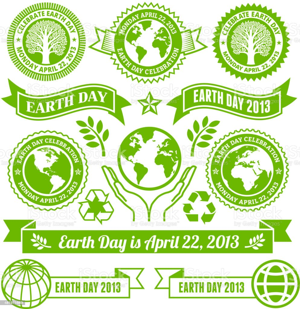 Earth Day royalty free vector Banners, Buttons, and Symbols royalty-free stock vector art