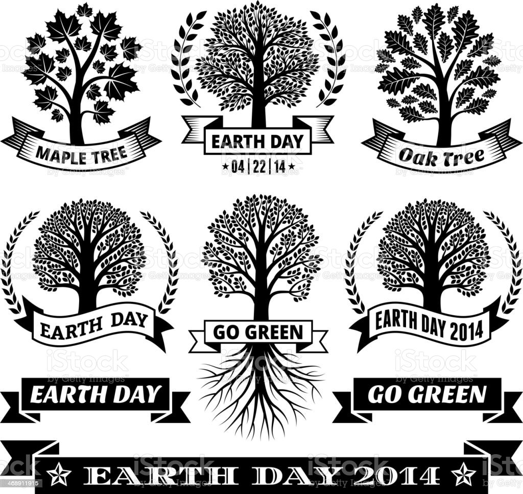 Earth Day royalty free vector with Tree Banners & Badges vector art illustration