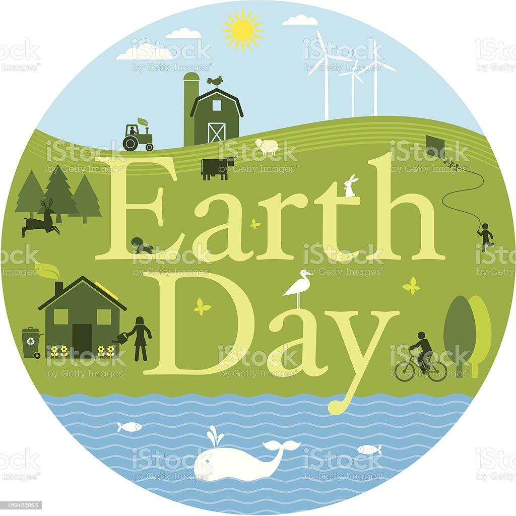 Earth Day vector art illustration