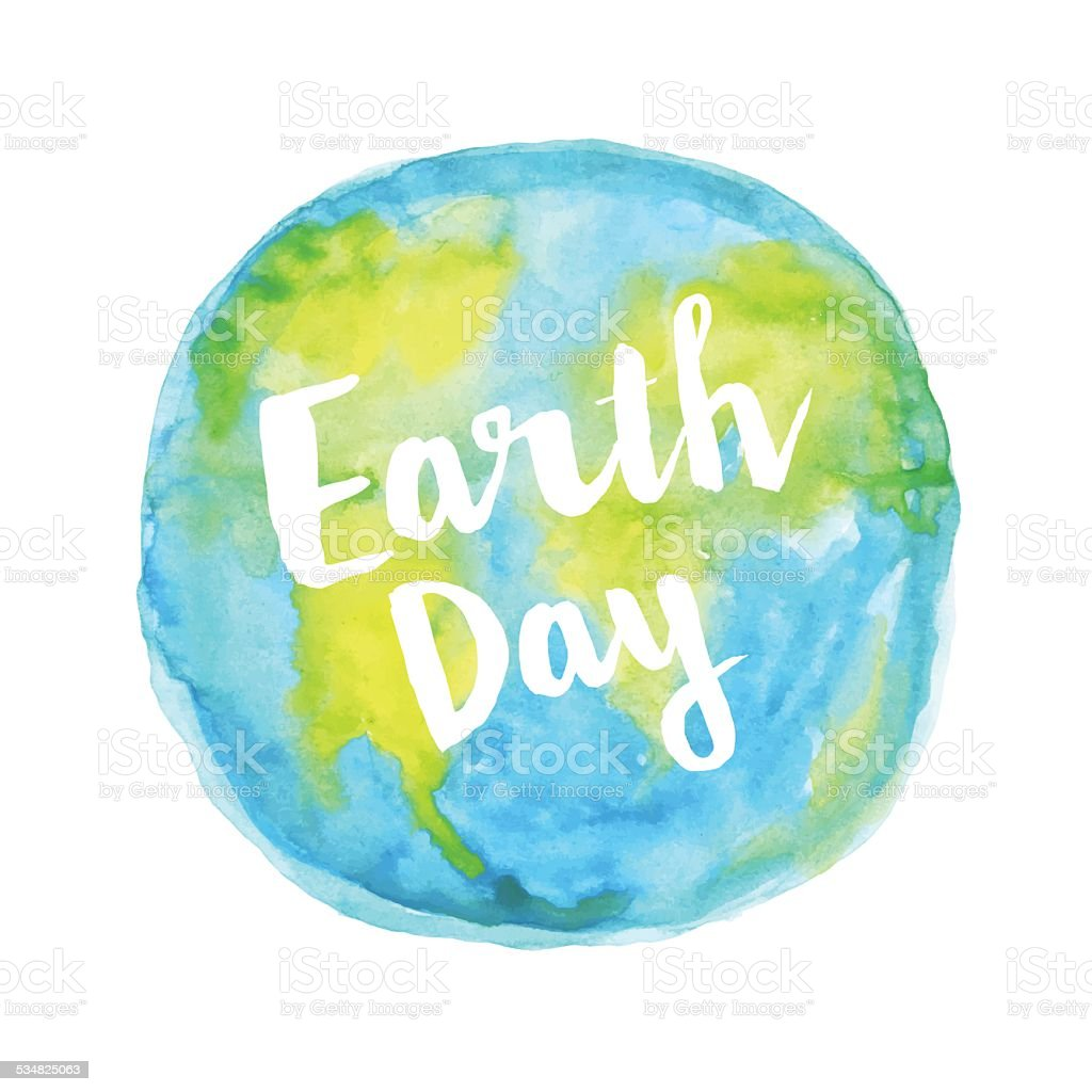 Earth day watercolour vector art illustration
