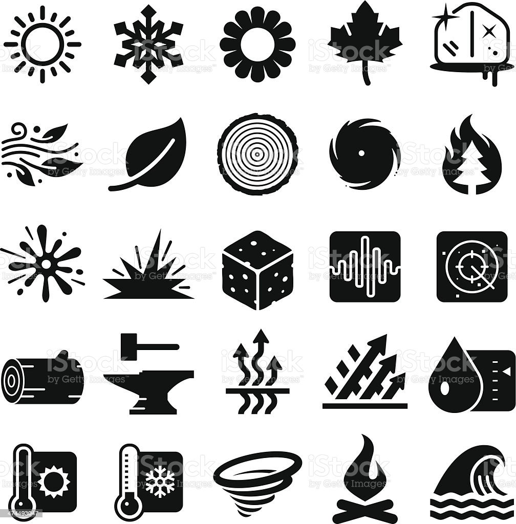 Earth Elements Icons - Black Series vector art illustration