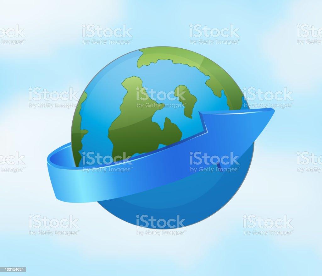 Earth globe and arrow royalty-free stock vector art