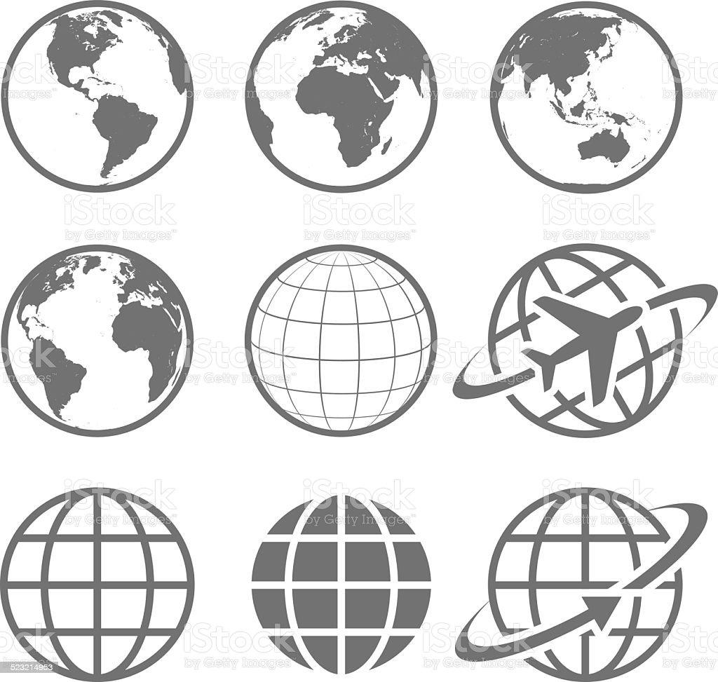 Earth globe Icon set vector art illustration