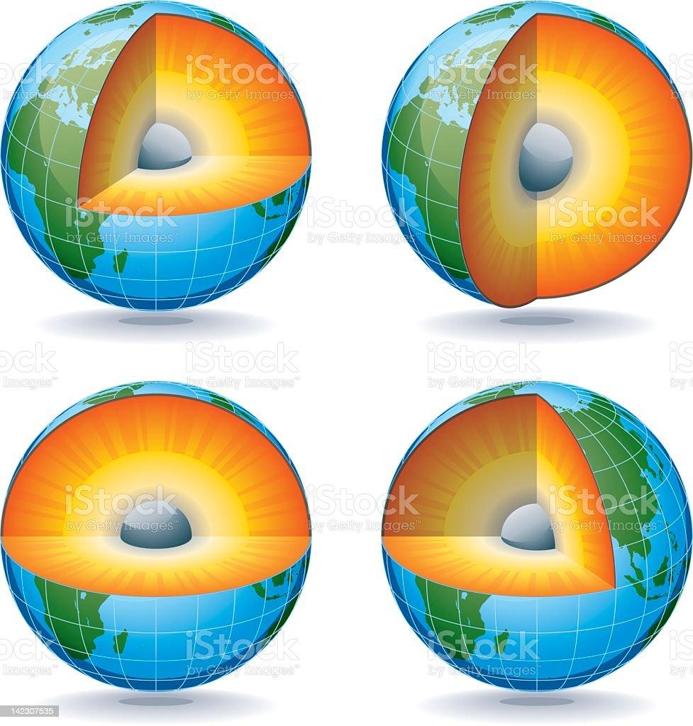 Earth Globe Sections vector art illustration