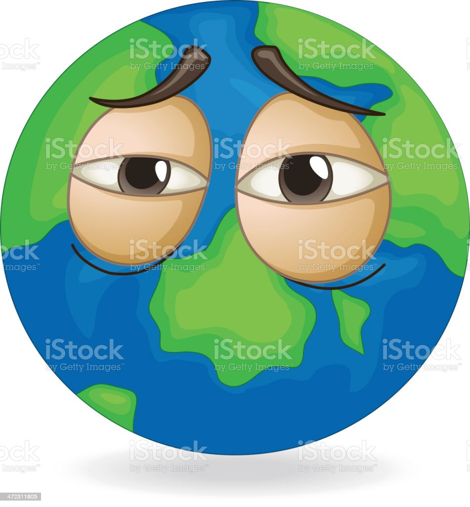Earth globe sleepy face royalty-free stock vector art