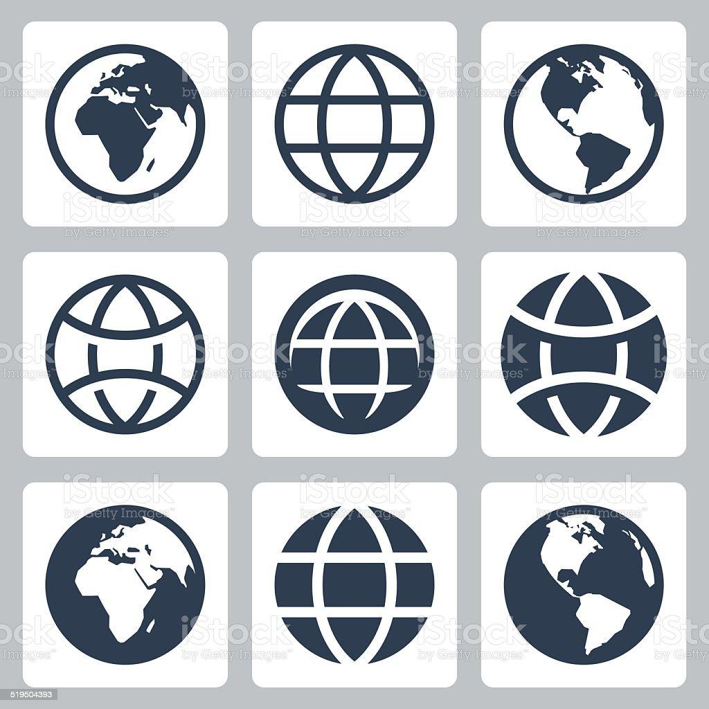 Earth globe vector icons set vector art illustration